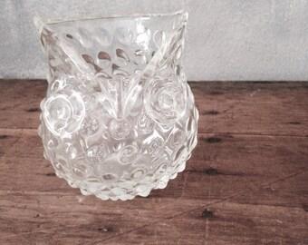 Glass owl vase