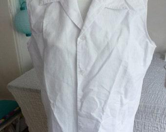 sleeveless white blouse- size M/L