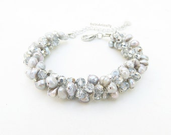 Gray freshwater pearl bracelet with crystal on silk thread, gray pearl bracelet, silver