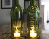 Arbor Custom Etching - Green (Stand & Candle Included) Home Decor, Eco Friendly, Upcycled, Hostess Gift, Relax, Logo, Upcycle, Recycle, Wine