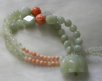 Large celadon jade rabbit pendant & coral bead charms w jade beads necklace , beaded jewelry , celadon jade pendant , jade rabbit , unusual