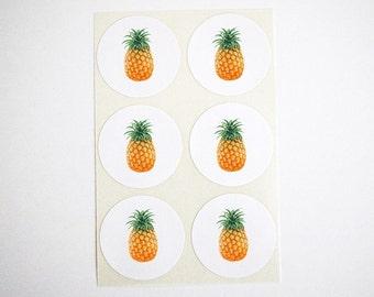 Pineapple Stickers. Round Stickers. Summer Pineapple Party Favor Seals. Pineapple Labels. Pineapple Envelope Seals