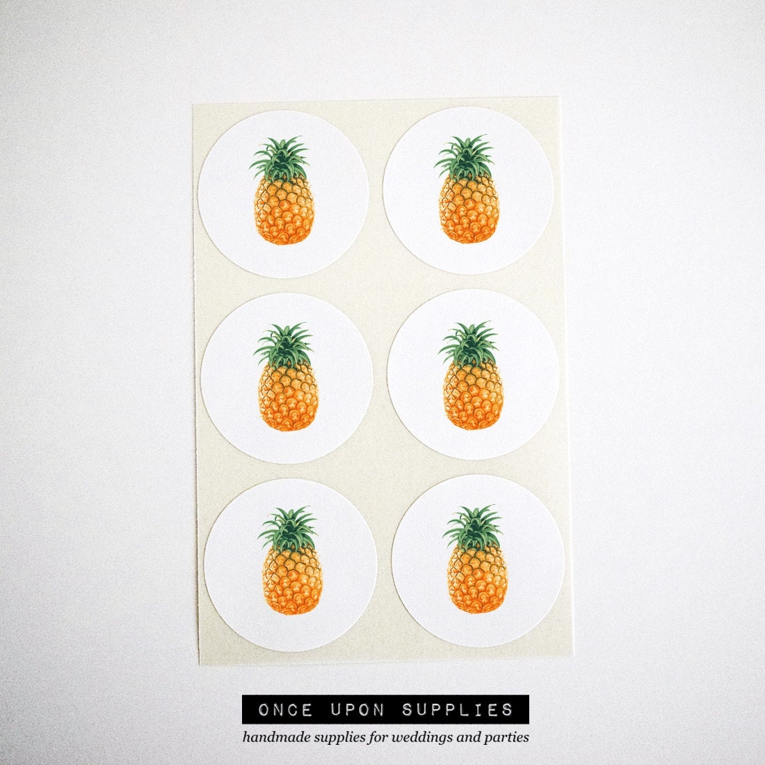 pineapple stickers round stickers summer pineapple party. Black Bedroom Furniture Sets. Home Design Ideas