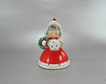 Norcrest Girl Bell Figurine Red Hooded Dress White Muff Vintage Christmas Holiday F174