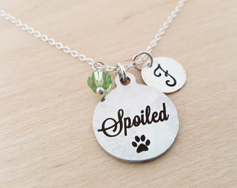Spoiled Charm - Pet Owner Necklace -  Swarovski Birthstone - Initial Necklace - Personalized Necklace - Sterling Silver Necklace