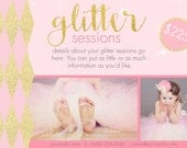 Two Photography Marketing Boards -- Glitter Newsletter Templates PSD-- Glitter Mini Session -- Photoshop Template  -- Sparkle Mini Session