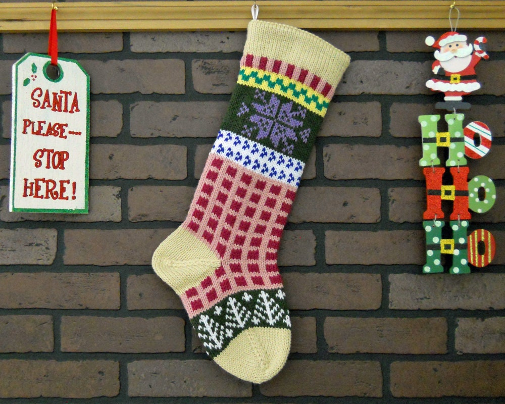 Pink gingham christmas stocking hand knit fair isle stocking zoom bankloansurffo Choice Image