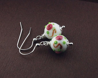 Necklace and earring set jewelry set artisan lampwork beads earring set necklace and earrings necklace set lamp work rosebud rose bud match
