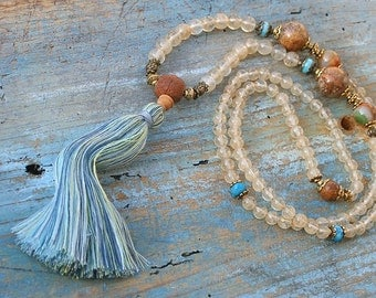 Beautiful light yellow cherry quartz gemstone mala necklace