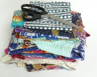 kantha fabric scraps // kantha scraps // kantha off cuts // quilting scraps  // quilt making scraps // crafting scraps