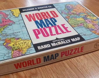 Vintage Rand McNally~Selchow & Righter Co~WORLD MAP PUZZLE~in Box 21 x 14