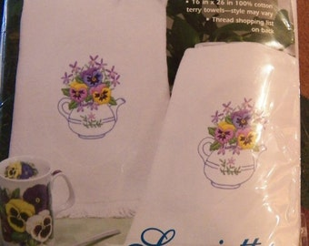Dimensions Set of 2~Guest Towels~in Stamped Embroidery~TEAPOT FLORAL~Pansy NEW
