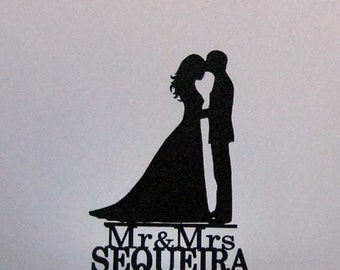 Personalized Wedding Cake Topper - Bride and Groom Silhouette 2 with Mr & Mrs name