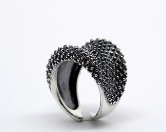 CORAL Ring, Fine Jewellery, Contemporary Engagement Ring,oxidised ring