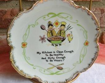 Vintage Kitchen Plate - Poem - Fine Porcelain - Fabulous!