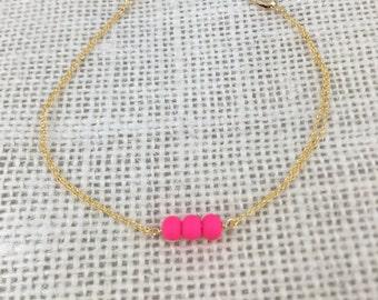 Neon Pink Three Bead Bracelet