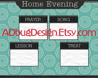 "11x14 ""Family Home Evening Chart"" - for 4 to 8 Family Members - Blue - Digital Files"