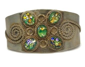 Alpaca Silver Mexico Foil Art Glass Cuff Bracelet Spiral Designs Size Small