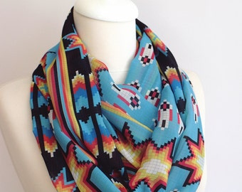 American Native Scarf Indian Infinity scarf Tribal Cross Stitch Scarf Blue Colorful Navajo Accessories For Her Birthday Christmas Gifts