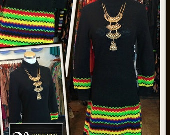 Vintage Black Knit Dress Multi-Color Stripe Sweater Dress FREE SHIPPING