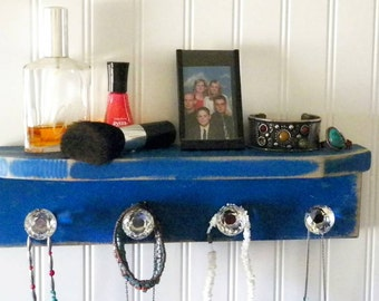 Royal Blue Distressed Jewelry Shelf with Rhinestone Knobs 15 x 4 Inches, Rustic Necklace Hanger