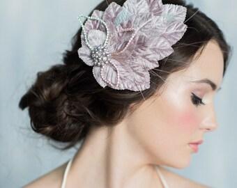 Grey Fascinator, Bridal Headpiece, Crystal Hair Accessory, Wedding Hair Piece, Bridal Hair Clip, Ivory Fascinator, Wedding Accessory, EDITH