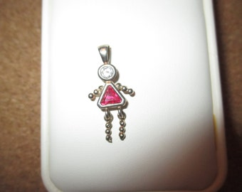 c1980 Vintage Sterling Silver BIRTHSTONE Girl Charm CZ & Pink Sapphire .925 Movable Legs mom charm or girlfriend pendant Personalized Family