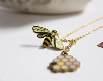 Bee and Honeycomb Charm Necklace - handmade jewelry - hand-painting version