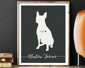 I love my dog, Boston Terrier, personalized dog name, heart home decoration poster, digital artwork print, modern home decor dog lover