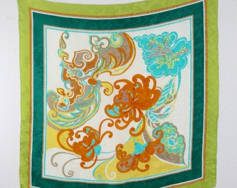 Vintage Orientalist Large Square Silk Scarf Hand Rolled Hem