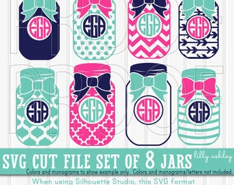 Monogram SVG Files Set of 8 cutting files includes svg/png/jpg formats! Commercial use approved! mason jar svg bow svg {no letters included}