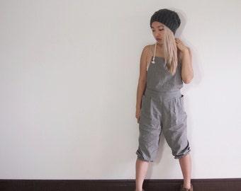 Linen overalls jumpsuit romper onesie parachute harem slouchy pants capris