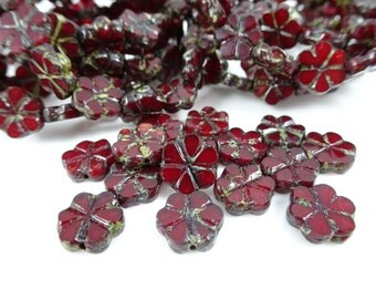 Czech Beads, Czech Glass Flower Beads, Glass Flower Beads - Dark Red, Garnet, Burgundy Flower (FL10/RJ-0711) - 10mm - Qty. 8