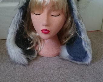 READY TO SHIP One Luxury Husky Wolf Hood with Greyl Fleece Lining