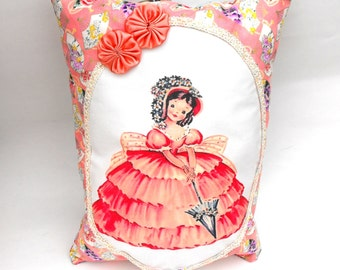 Cotillion Coquette Pillow Handmade Decorative Girls Room Decor Pretty Fan Powder Pink Shabby Chic Baby Shower Gift Pocket Hand-Sewn Rosettes