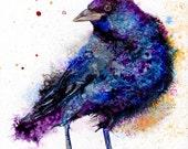 Crow art print: raven wall art nursery animal art crow decor totem crow artwork halloween decor bird decor blackbird art crow bird art