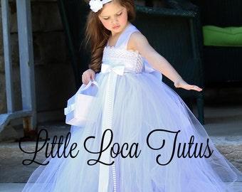 White Flower Girl Tutu Dress White Flower Girl Dress Wedding, Party, Birthday Elegant Gown