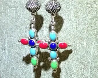 Multi Gemstone Sterling Cross Earrings/Southwestern Style/Blue Red Aqua Green/Gift for Her by IndigoLayne