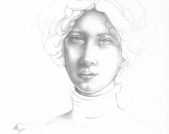Victorian woman Silverpoint Drawing, Original Art