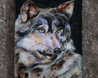 Wolf Painting, Wolf Art, Wolf Wall Decor, Fiber Art, Textile, Felt Art, Needle Felted Art, Wildlife Art, Wolf Portrait, Animal Painting