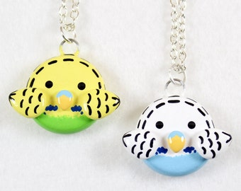 Cute Parakeet Necklace - Polymer Clay Necklace - Budgie Necklace - Budgie Jewelry - Parakeet Jewelry - Polymer Clay Jewelry