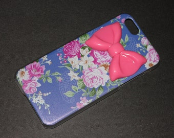 iPhone 6 Blue Floral Pink Bow Case
