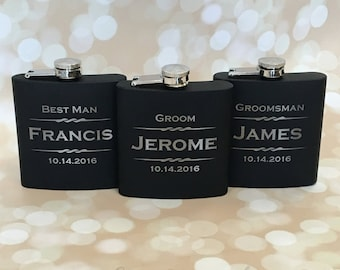 Groomsmen Gift, Personalized Flask, Engraved Flask, Personalized Groomsmen Flask, Wedding Party Flask, Groomsmen Flask, Hip Flask, Liquor