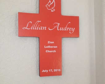 Baptism Cross gift - Personalized - Our new Coral wood color with white  lettering for boy or girl - Name, date, church and location.