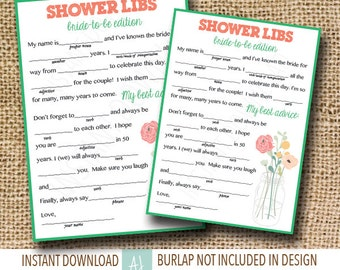 Printable Bridal Shower Game-- Mason Jar Theme- Mad Libs for the Bride to Be- Customization NOT Included