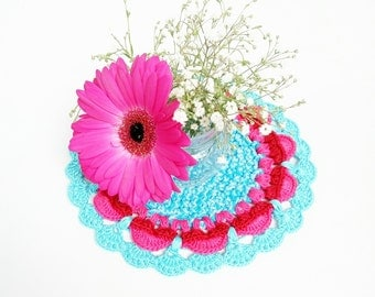 "Bright crochet placemat 8"" Teal hot pink  Home decor Hostess gift Food photography props Photoprop Gift for mom grandma Cottage chic"