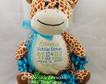 Giraffe baptism gift etsy birth announcement giraffe stuffed animal personalized baby gift from felicias fancies baby boutique negle Gallery