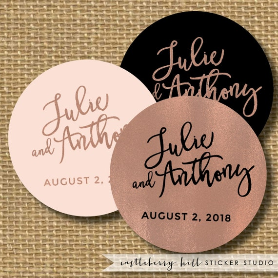 Copper And Black Wedding Sticker Black And By CastleberryHill