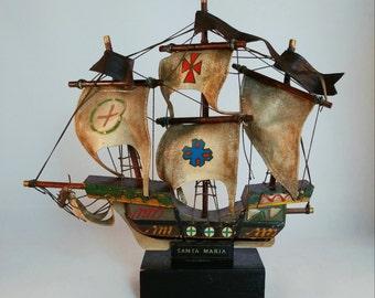 Columbus Sailing Ship Model Set - Pinta, Nina, Santa Maria - Vintage Circa 1960