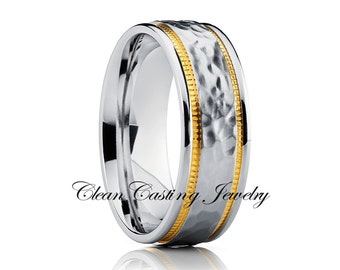 Titanium Wedding Band,Hammered Titanium Wedding Ring,Unique Titanium Wedding Band,Comfort Fit,18k Yellow Gold,Sating Finish,Handmade